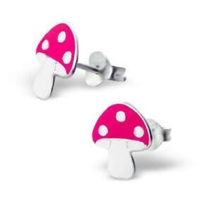 Girls Childrens 925 Sterling Silver MUSHROOM Stud Earrings - Gift Boxed
