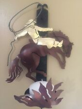 Western Cowboy and Horse Metal Wall Art Candle Sconce - Brand New