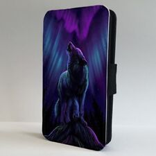 Wolf Howling Northern Lights Art FLIP PHONE CASE COVER for IPHONE SAMSUNG
