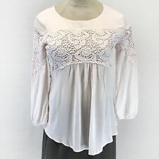 NEW NWT XCVI Romantic Baby Pink Lace Accent Babydoll Peasant Blouse Top Large