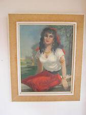 Ölgemälde rassige Zigeunerin, vintage oil painting female gipsy, Otto May 1957