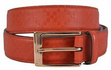 New Gucci Men's 345658 Tabasco Red Diamante Leather Belt 40 100