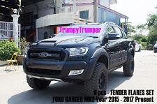MATTE BLACK FENDER FLARES WHEEL ARCH FOR FORD RANGER PX2 MK2 WILDTRAK 2015 2017