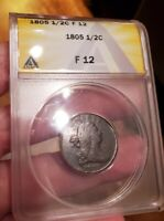 1805 DRAPED BUST 1/2 CENT ANACS F12 FRESHLY GRADED 04/21