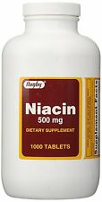 Rugby Niacin Tablets, 500mg, 1000 Tablets  PHARMACY FRESH STOCK!