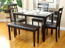 5 Pcs Dining Kitchen Set Rectangular Table 3 Warm Chairs Bench Espresso
