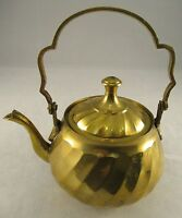 Vintage Brass Ornamental Kettle - Great Pattern and Colour
