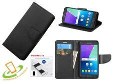 Samsung GALAXY J3 Sol Amp Prime Leather Flip Wallet Case Cover Stand BLACK + Kit