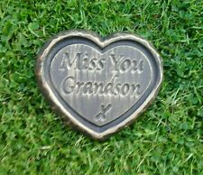 Grandson GRAVE SIDE TRIBUTE GARDEN MEMORIAL HANDMADE NATURAL STONE HEART
