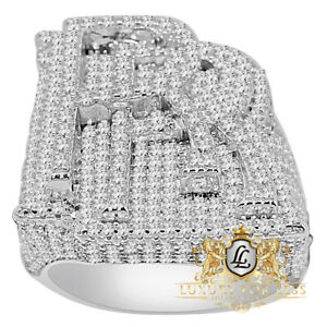 """Real White Gold On Sterling Silver """"RR"""" Diamond Custom Luxury Car Mens Ring Band"""