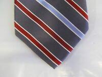 Chaps SILK Tie Necktie 57 x 3.5 gray red blue striped 14547