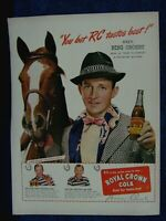 1945 Bing Crosby & Horse -  Royal Crown Cola  Ad Print