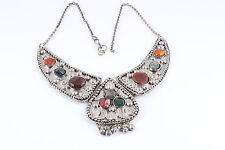 W/Green & Orange Stones #5972 Three- Piece Asian Beaded Silver-Toned Necklace