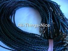 """LEATHERETTE 18"""" Necklace BLACK Plait COPPER Findings Jewellery Pendant Cord 20"""