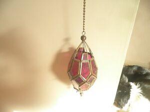 Fabulous ethnic coloured glass, hanging tea light holder