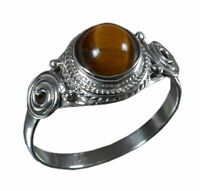 Handmade 925 Solid Sterling Silver Ring Natural Tiger's Eye US Size 5.5 R845