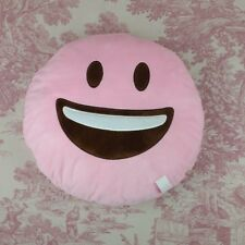 Pink Storage Pouch Emoji Pillow Zippered Pocket Happy Face 14""