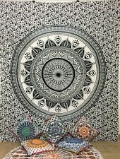 Grey Cotton Mandala Bedding Indian Double Tapestry Wall Hanging Bedspread Hippie