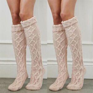 Knitted Knee Leg Warmer Winter Long Boot Topper Skinny Sock Cotton Blend Garment