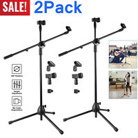 2PCS 360-degree Rotating Microphone Stand Dual Mic Clip Boom Arm Foldable Tripod