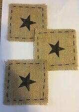 Burlap Patch With Star Set Of 3
