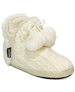 🔥 (XL 11-12) Ivory 👡Designer Muk Luks  Women's Amira Boot Slippers Indoor Use