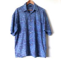 Vintage QUIKSILVER Mens 90s Blue Cotton Button Up Shirt Tropical Skulls Size L