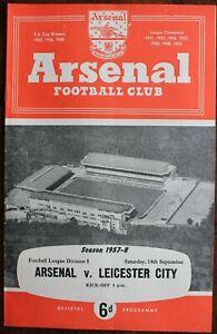 ARSENAL V LEICESTER CITY PROGRAMME SEPTEMBER 1957