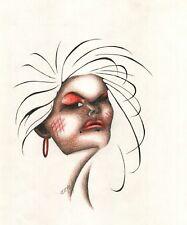 Original SOME CHICK Woman Face Female Figure Pastel Pencil Art Drawing