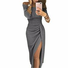 UK Women Off Shoulder Bodycon Dress Long Sleeve Split Evening Party Gown Dresses