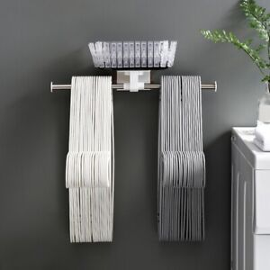Wall Mounted Clothes Hangers Storage Stacker Rack Holder Organizer Punch-Free