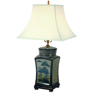 "Oriental Furniture 25"" Blue & White Chinese Calligraphy Porcelain Lamp"