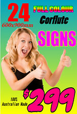 Corflute Signs Full Colour Printed Cheap Plastic Signs 900x600mm QTY Pack Of 24
