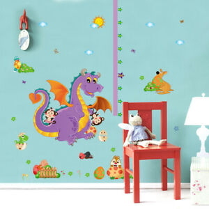 Children Height Growth Chart Measure Dragon Wall Sticker Kids Room Decor DIY