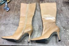 Greenwich Village Tan Leather Lined Fashion Knee Boots Size 7.5 M