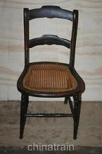 Antique Cane Seat Ladder Slat Back Chair Paint Accents 1800s