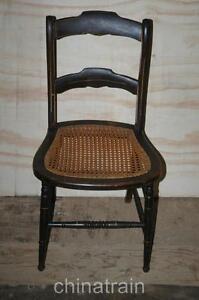 Antique Cane Seat Ladder Slat Back Chair Paint Accents 1800s