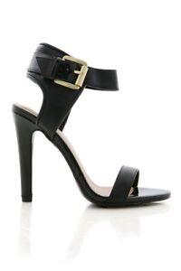"""Women's black vegan patent leather heels with gold buckle 4.5"""" Heel"""