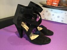 New Pollini Stunning Black Suede High Heeled Shoes Sandals, UK 8 (EUR 41