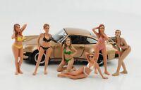 1:24 Figura Set de 6 Piezas Calendar Chicas Bikini American Diorama N º Car