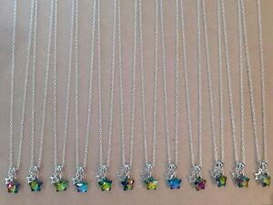 WHOLESALE JEWELLERY 12 GLASS STAR NECKLACES,GIFTS, PARTY BAGS,JOB LOT, FAVOURS.