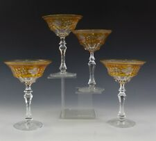 4 Bohemian Czech Moser Crystal Amber Cut to Clear Bar Barware Wine Glass Goblets