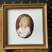 "Old Fashioned Porcelain Miniature Portrait.  5x5"" framed."