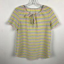 Vintage 1960s Zigzag Blouse Sz M Semi Sheer Pink Blue Yellow Short Sleeve Womens
