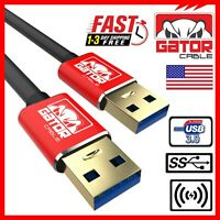 USB 3.0 A Male to A Male Cable Data Transfer Super Speed Power Charger Metal 6FT