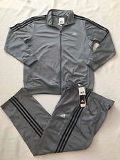 NEW ADIDAS ESS TRACKSUIT, TRACK SUIT, SHINY GREY/BLACK MENS SIZE XL