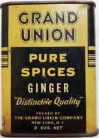 """1930's, ANTIQUE Grand Union Pure Spices """"Ginger"""" Tin"""