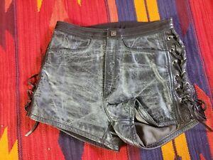 Harley Davidson Women's Black Leather Shorts, Size 32/4