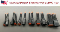 "Assembled 3"" Black 14 AWG Wire Deutsch 2,3,4,6,8,12 Pin Waterproof Connector"
