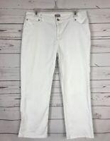 J.Jill Authentic Fit White Denim Blue Jeans Capris Ankle Stretch~ Women's Size 8